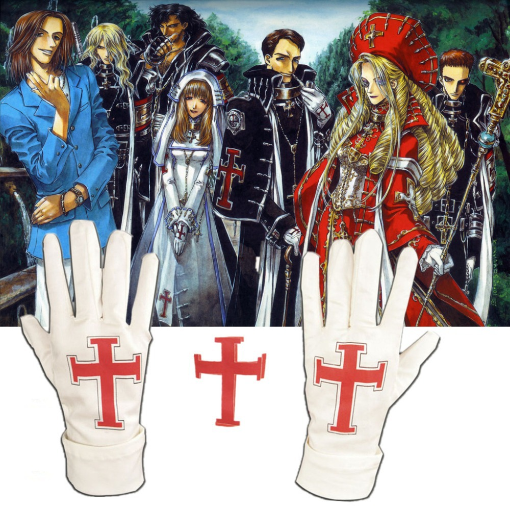 Athemis Fashion Trinity Blood White Mittens Winter Red Cross Mark Guantes Glove Attractive Christmas Decoration