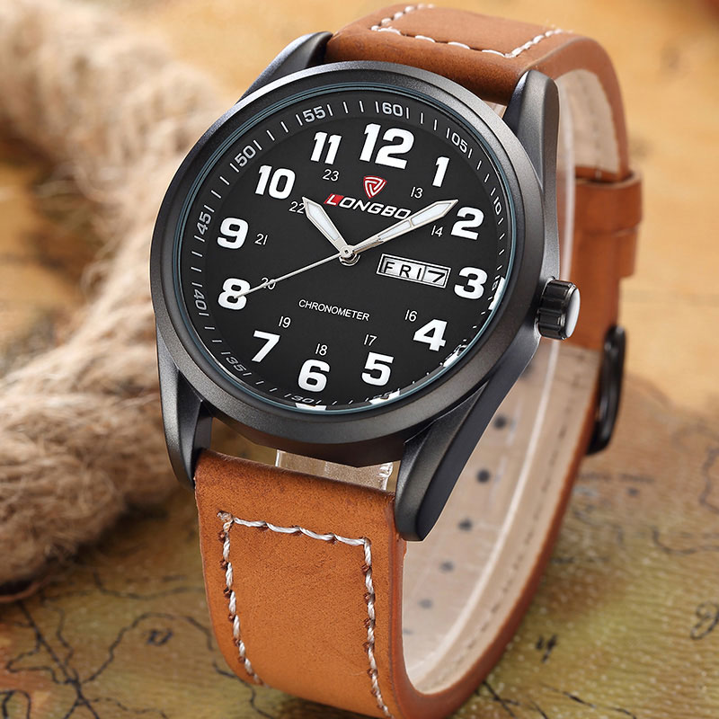 LONGBO Fashion Quartz Watch Men Watches Top Brand Luxury Famous Leather Wrist Watch Male Clock for Men Hodinky Relogio Masculino fashion male watches men top famous brand gold wrist watch leather band quartz casual big dial clock relogio masculino hodinky36
