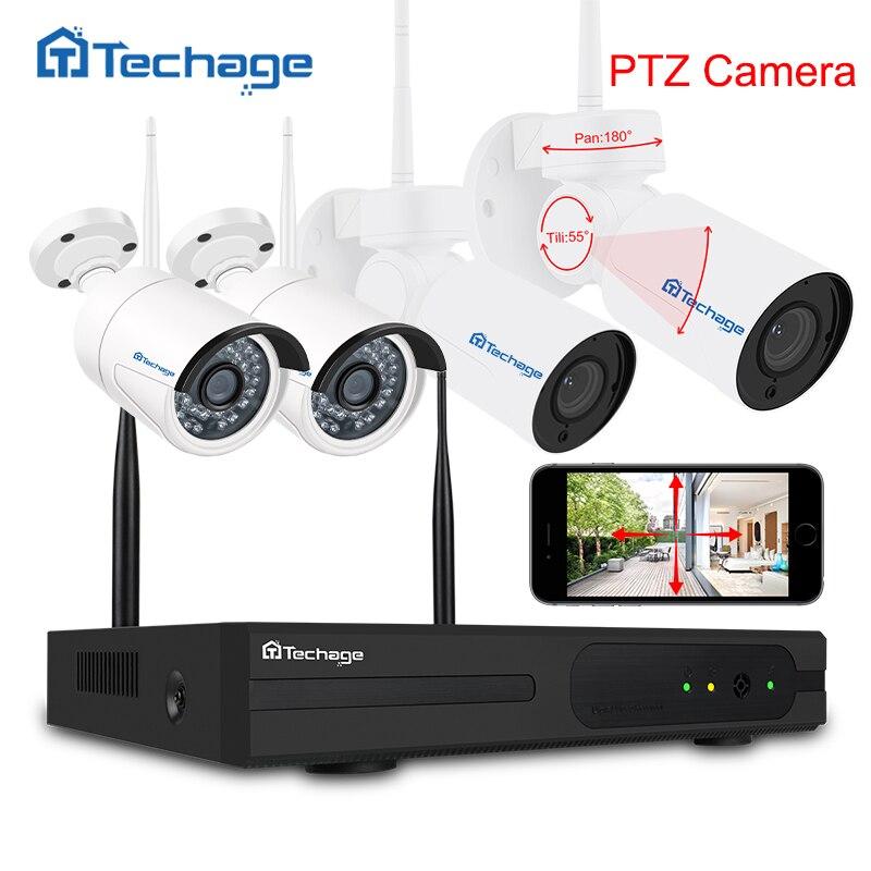 Techage 4CH 1080 p PTZ Wifi CCTV Système Sans Fil NVR Kit 2.0MP Sécurité Extérieure PTZ IP Caméra P2P Vidéo Surveillance système Ensemble