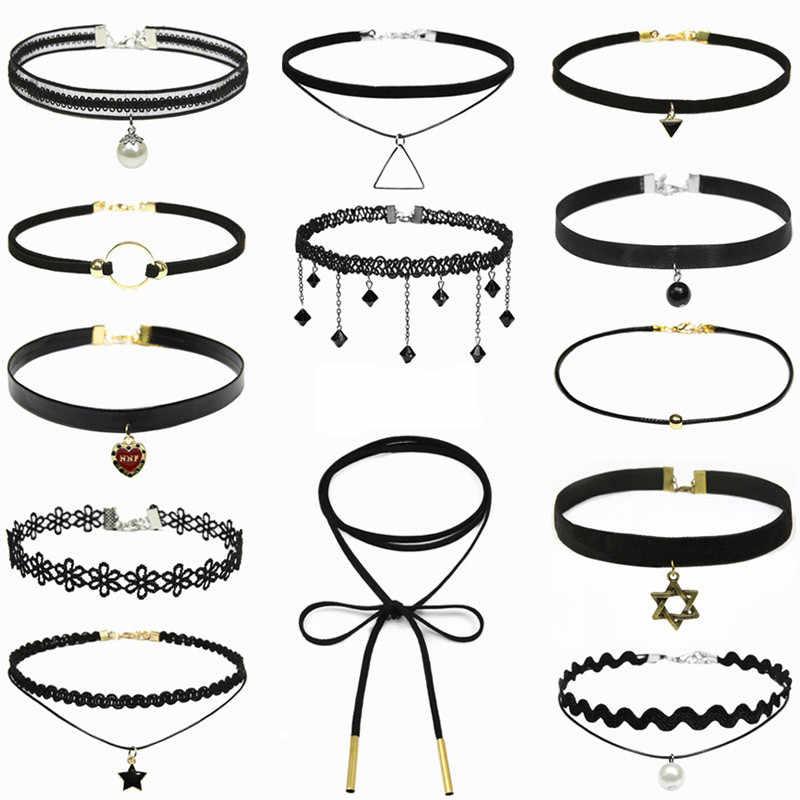 Clavícula kolye novo quente dos homens curtos do vintage punk rendas de couro cristal tatuagem colar gótico bijoux pingentes jóias gargantilha
