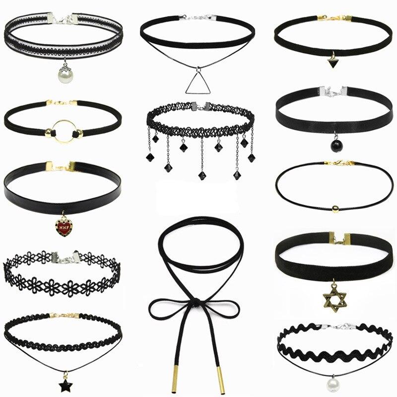 Clavicle kolye New Hot Men Short Vintage Punk Lace Leather Crystal Tattoo Necklace Gothic Bijoux Pendants Women Jewelry Choker(China)