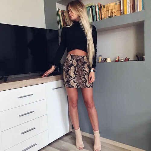 Phụ nữ Mùa Hè Ôm Body Váy Da Rắn Bút Chì Highwaist Váy Clubwear 2019 Bán