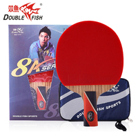 Original Double Fish 8 star 8A E Carbon Blade Table Tennis Rackets Racquet Pen Hold Short Handle Loop Pingpong Paddle with Bag