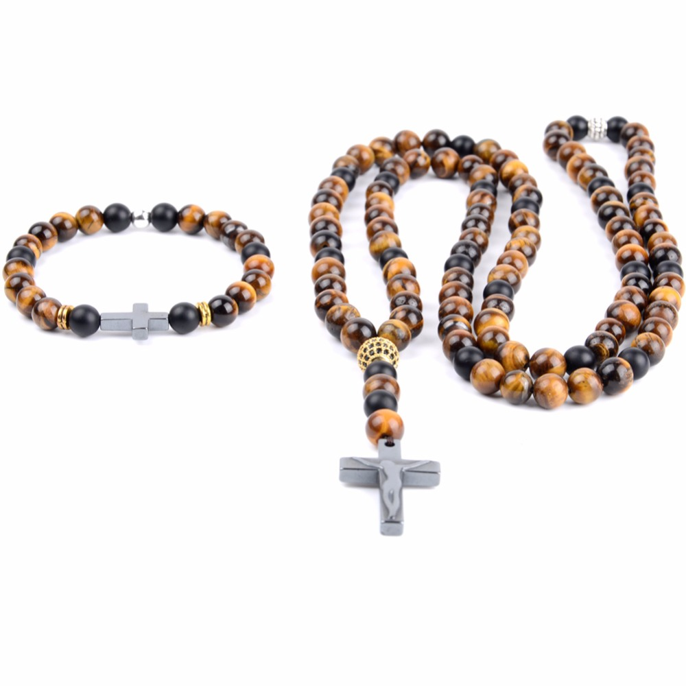 Fashion Cross Pendant Necklaces Bracelets Men Natural Stone Tiger eye Beads Long Necklace & Pendants For Women Jewlery Sets