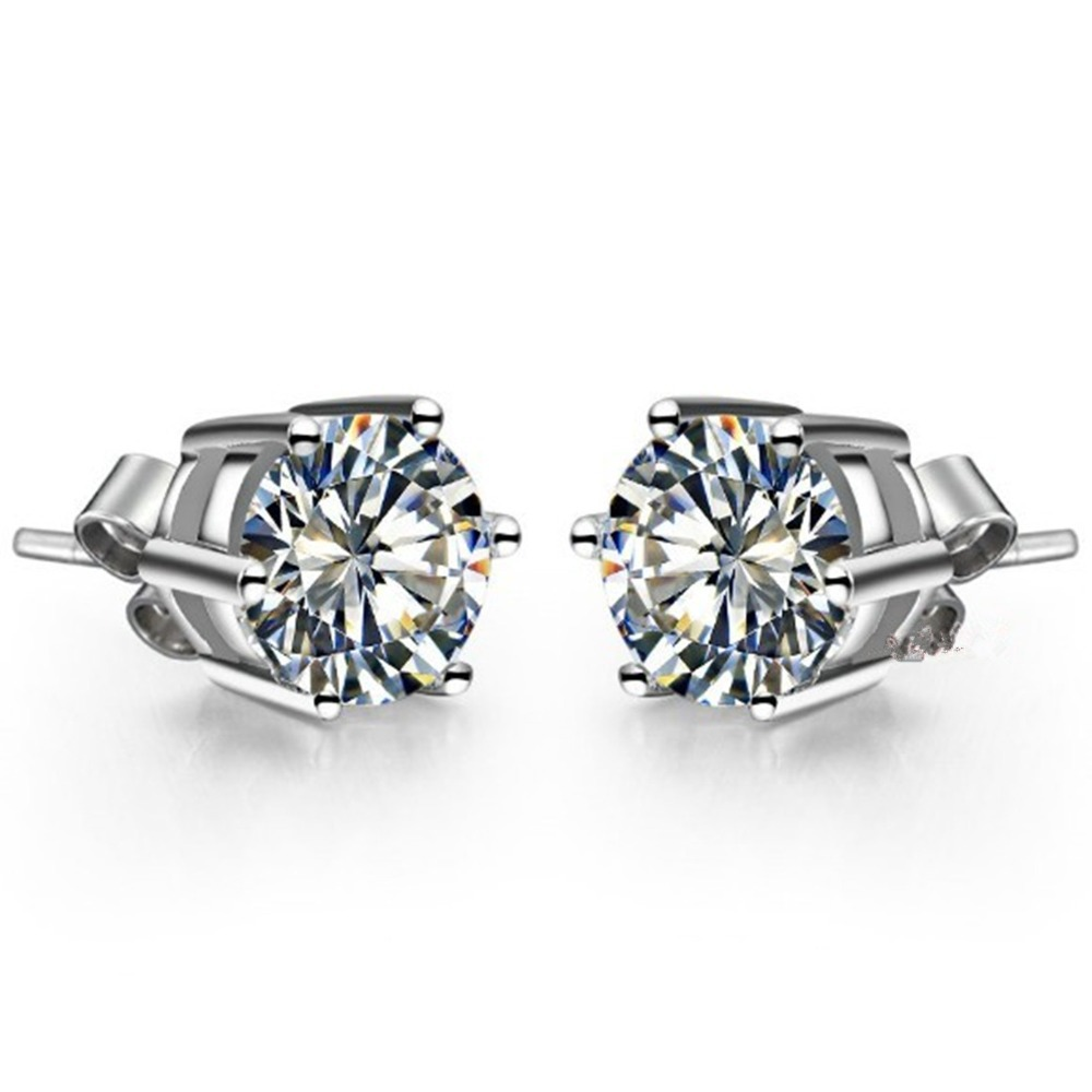plated silver platinum earrings stud zoom hover diamond sapphire charmisma to white