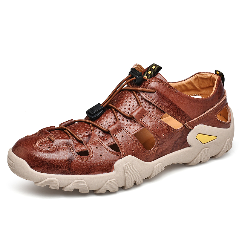 LeFoche hommes printemps extérieur creux sandales trou chaussures grande taille à lacets antidérapant chaussures décontractées