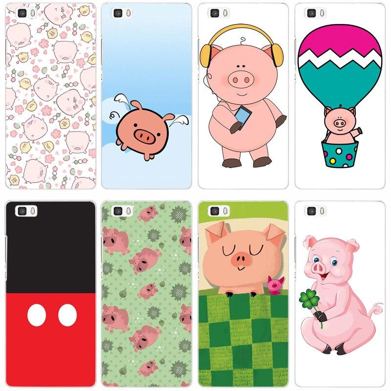 2f очаровательны мультяшек свинья прозрачный жесткий тонкой кожи, чехол для Huawei P 6 7 8 9 lite плюс Honor 6 7 8 4c 4x G7