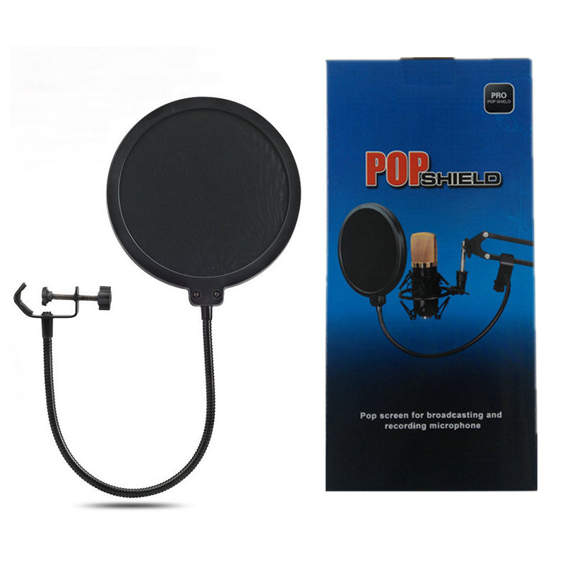 KEBTYVOR Metal Pop Filter Shield Double Layer windscreen Popfilter with micophone For Studio Speaking Recording