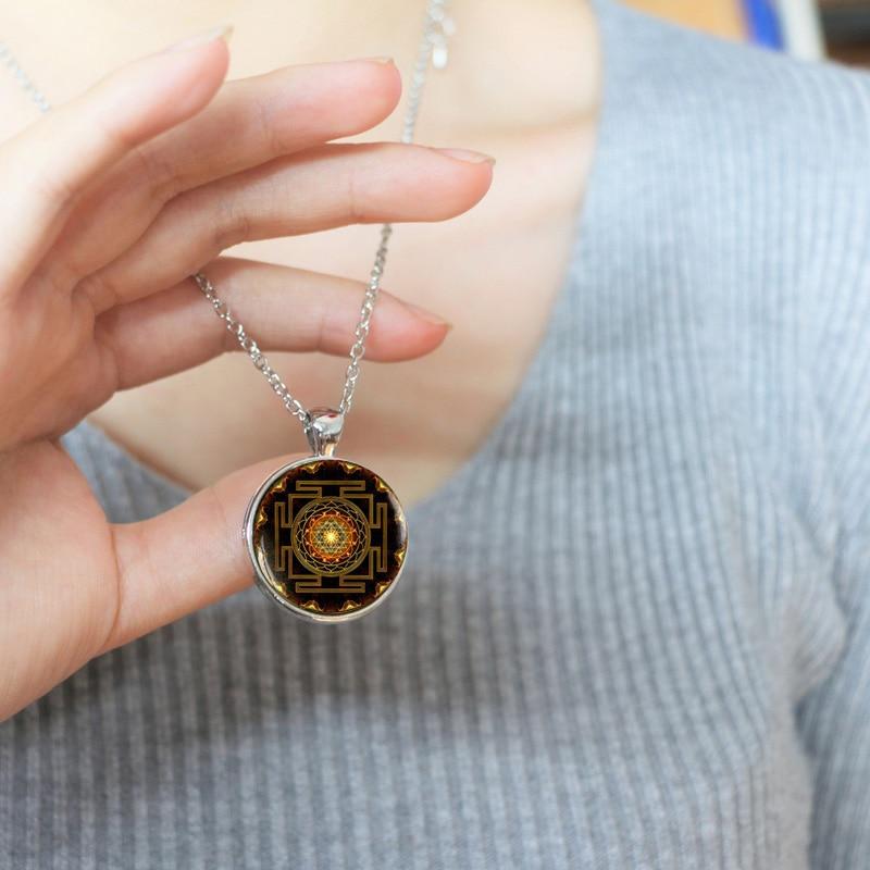 Buddhistisk Sri Yantra vedhæng Mandala halskæde blomster hellig - Mode smykker - Foto 6