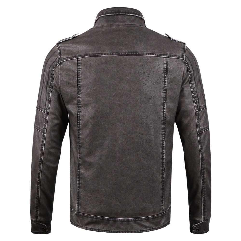 Chaqueta de cuero marrón/Negro abrigos de lana de ajuste Delgado 2019 nueva chaqueta de cuello alto Parkas grueso cálido piel sintética ropa masculina