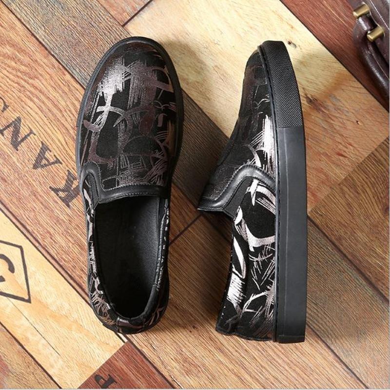 Grande 48 En Black Hommes Printemps Mode Mocassins De 47 Plus Automne 46 Chaussures Taille Cuir Casual Et Imprimé Givré La UrHXnU5wqz
