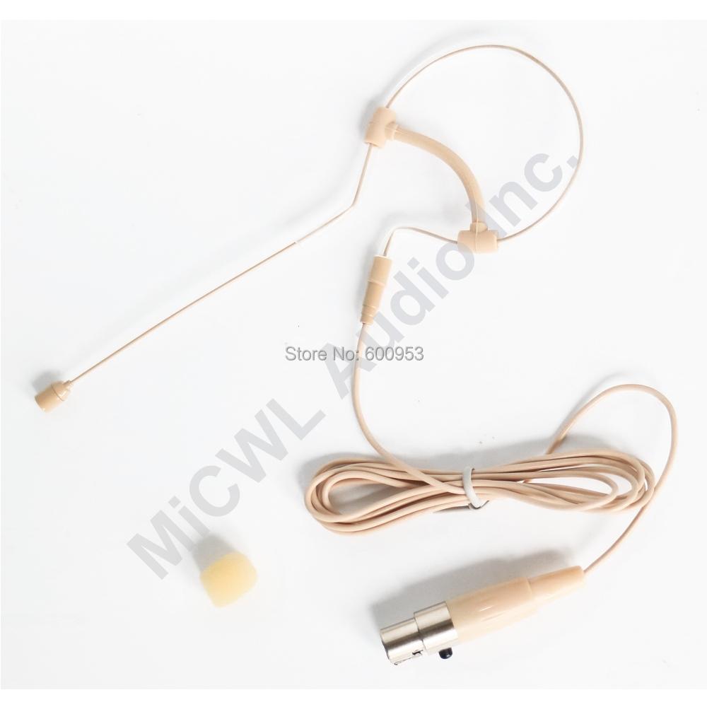 Low Profile Light-weight Headset Headworn Earhook Microphone For Sennheiser AKG Shure Wireless System MIC-J S90 Beige Omni