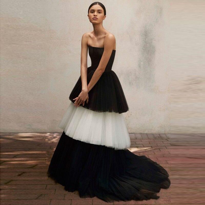 Por Lujo Y 2018 A Graduación Formal Plisado Mujer Falda Encargo Ocasión Faldas Blanco Negro Elegante Línea De UwSqwHPO