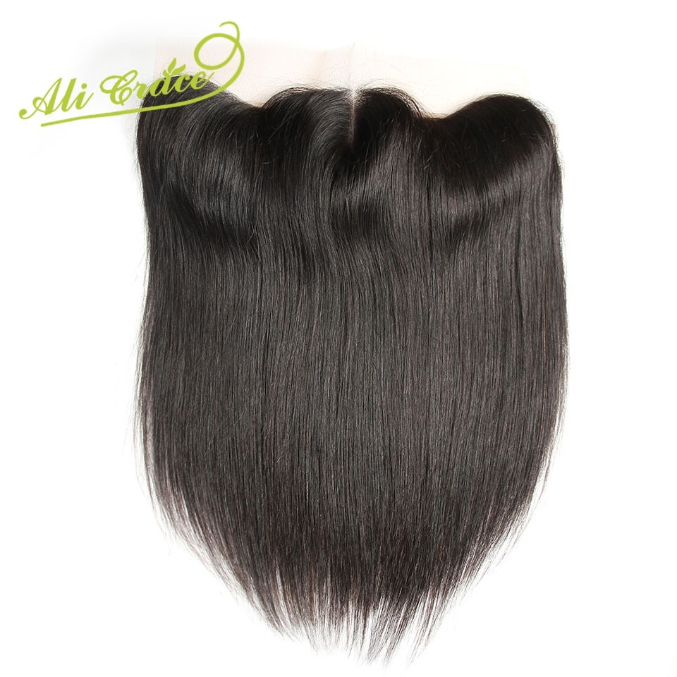 Ali Grace Hair 13*4 Ear To Ear Malaysian Straight Hair Lace Frontal 100% Remy Human Hair Swiss Lace Frontal 130% Density