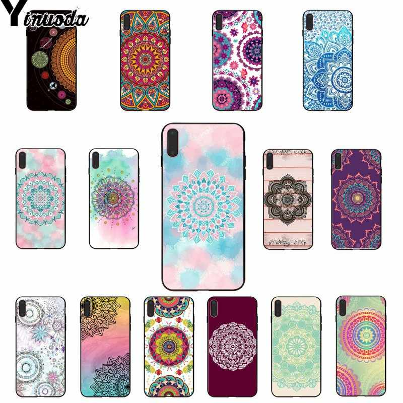 Yinuoda Blue totem mandala flower Novelty Fundas Phone Case Cover for iPhone 8 7 6 6S Plus 5 5S SE XR X XS MAX Coque Shell