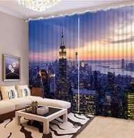 3D Curtain City lights night view Scenery Digital Photo Printing Blackout 3D Curtains for Living Room Bedding Room Cortinas
