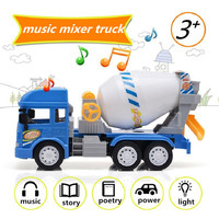 Simulation Concrete Mixer Truck With Light & Sound Engineering Car Toys Large Cement Mixer Model For Kid's Toy Gifts