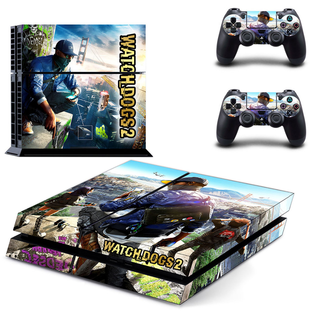 Game Watch Dogs 2 PS4 Skin Sticker Decal for Sony PlayStation 4 Console and 2 Controller Skin PS4 Sticker Vinyl Accessories