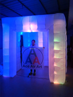 Trade Show Equipment Inflatable Photo Booth With Led Lighted 3 Doors 2 5 M X2 5