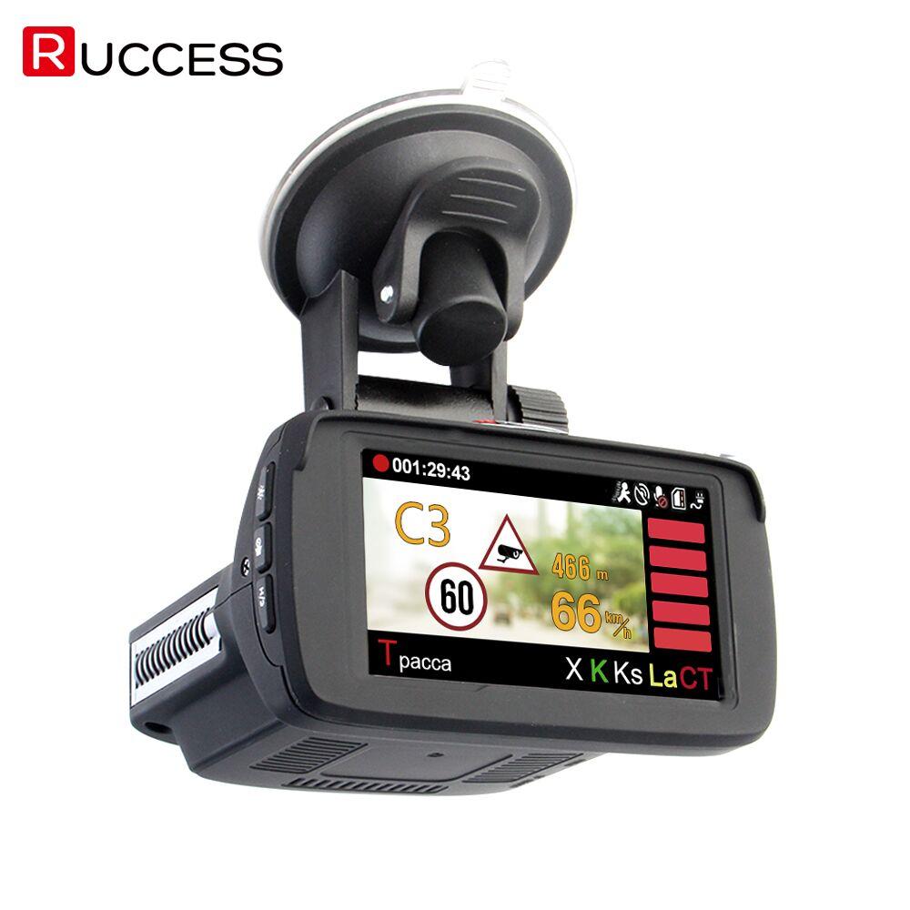RUCCESS 3 Em 1 Detectores de Radar DO CARRO DVR GPS Logger Câmera Traço Cam Detector De Radar para A Rússia A Laser 2017 Ambarella 1080 p Detector