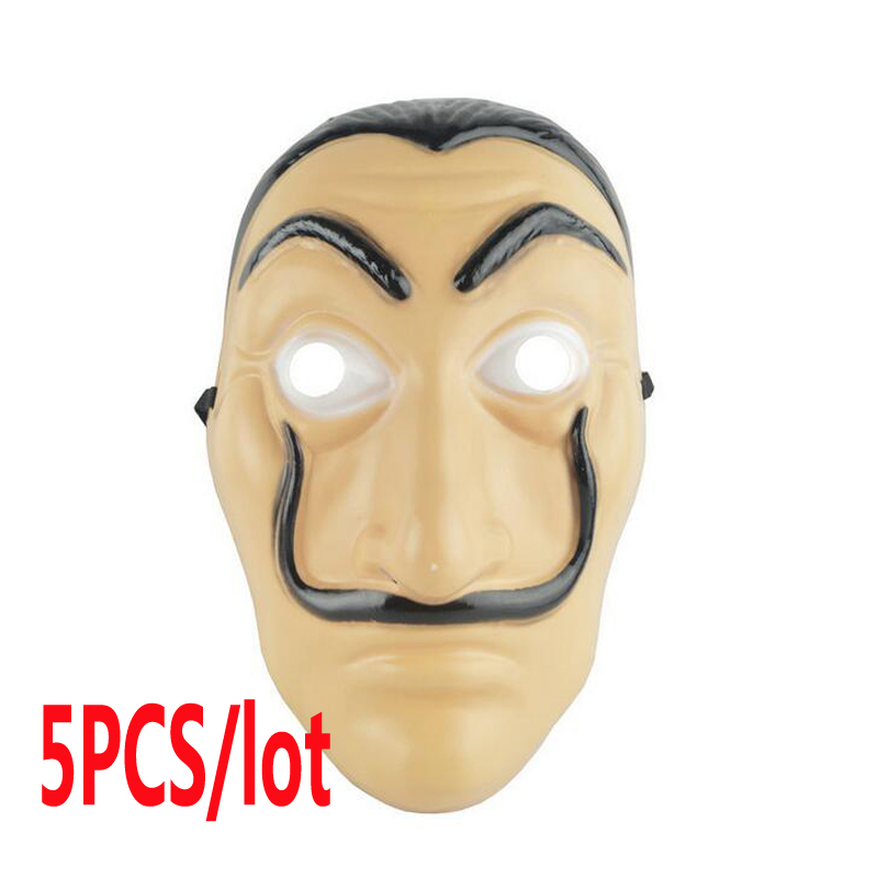 Wholesale 5 pcs/lot Dali Masks Cosplay La Casa De Papel Dali Face Mask Adult Men Women Halloween Carnival Fancy Party