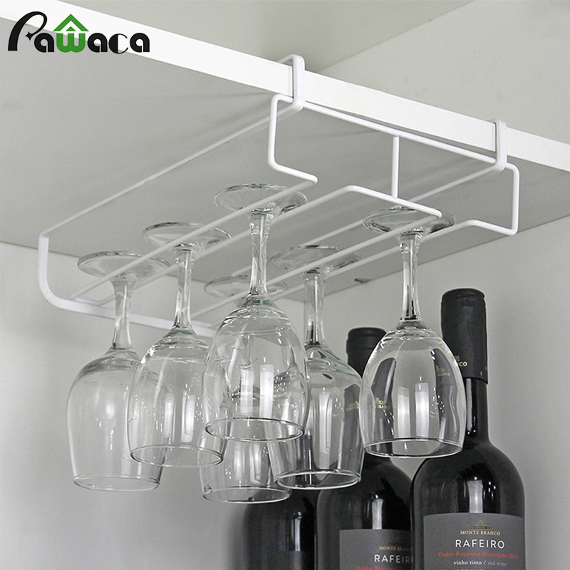 One/Double Rows Red Wine Glass Holder Wine Rack Wall Hanging Glasses Holders Wine Accessories Drinking Cup Goblet Rack Tray