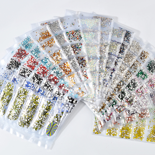 1 Pack Flatback Glass Nail Rhinestones Mixed Sizes SS4 SS16 Nail Art Decoration Stones Shiny Gems