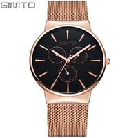 Simple Men Watch Stainless Steel Silver Gold Male Clock Ultra Thin Quartz Watch Man Student Cool