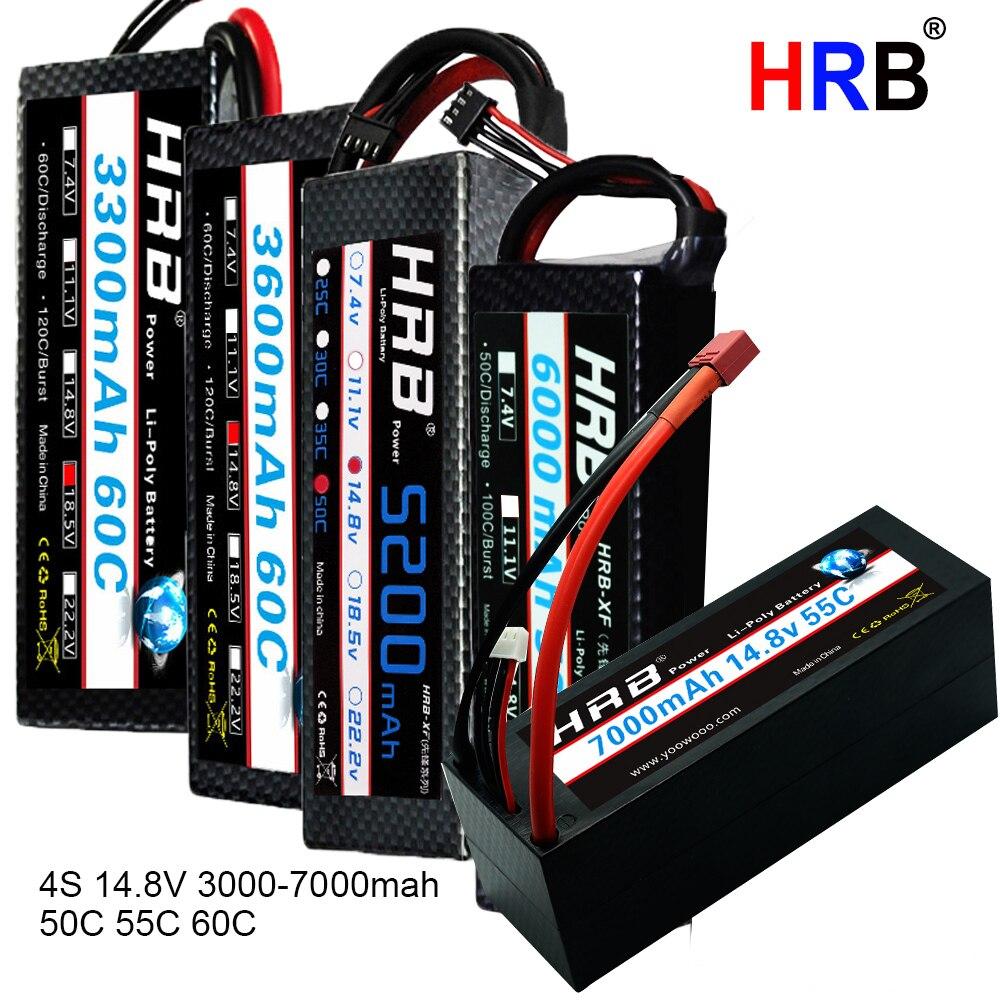 HRB 4 S 14.8 V RC Lipo batterie 3000 mah 3300 mah 4000 mah 5500 mah 6000 mAh 7000 mah 8000 mah 1/10 mah étui rigide pour Traxxas Scx10 voitures bateau