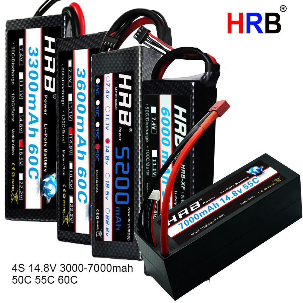 HRB 4S 14.8V RC Lipo Battery 3000mah 3300mah 4000mah 5500mah 6000mAh 7000mah 8000mah Hard Case For Traxxas 1/10 Scx10 Cars Boat