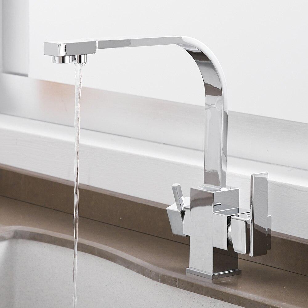 Robinets de cuisine pont monté mélangeur robinet 360 degrés Rotation avec Purification de l'eau caractéristiques mélangeur robinet grue pour WF-0178 de cuisine - 4