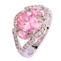 New Fashion Luxurious Style Jewelry Pink Topaz 925 Silver Ring Size 7 8 9 10 Oval Cut Gift For Women Wholesale Free Shipping