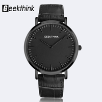 GEEKTHINK Luxury Top Brand Quartz Watch Men S Casual Black Quartz Watch Business Genuine Leather Ultra