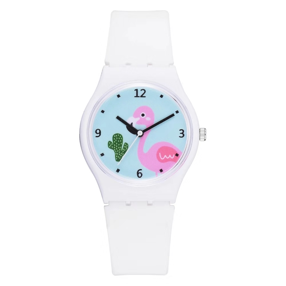 Easy To Build Temperament Leisure Student Wrist Watch Children Cartoon Flamingo Pattern Girl's Heart Jelly Color Silicone Watch