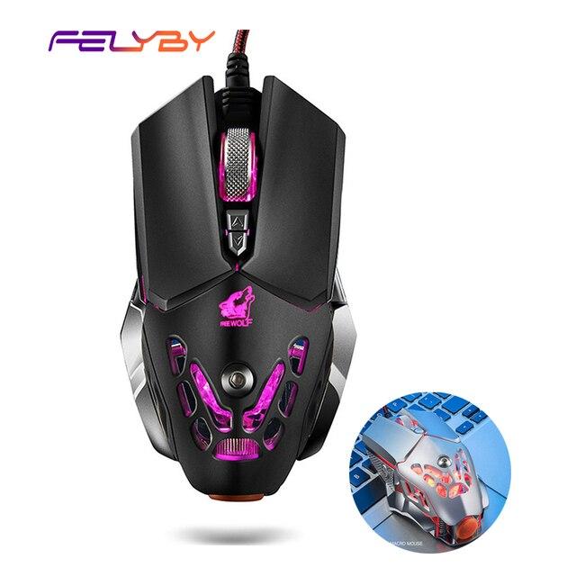 Botão 6 FELYBY Profissional Gaming Mouse Com Fio 2400 DPI LED Óptico USB Mouse de Computador Gamer Mice V9 Jogo Do Rato Para PC