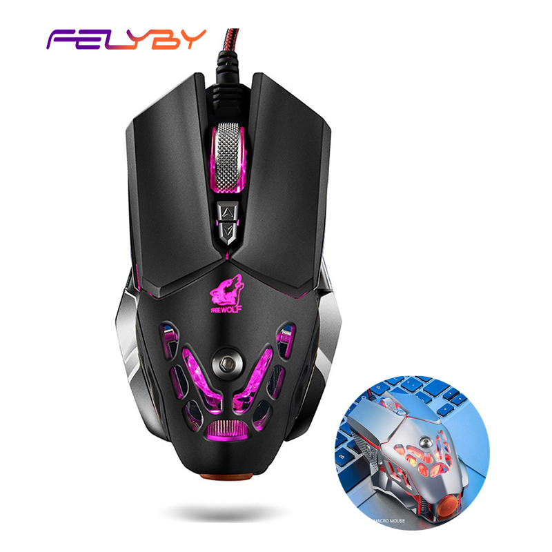 FELYBY Professional Wired Gaming Mouse 6 Button 2400 DPI LED Optical USB Computer Mouse Gamer Mice V9 Game Mouse For PC-in Mice from Computer & Office