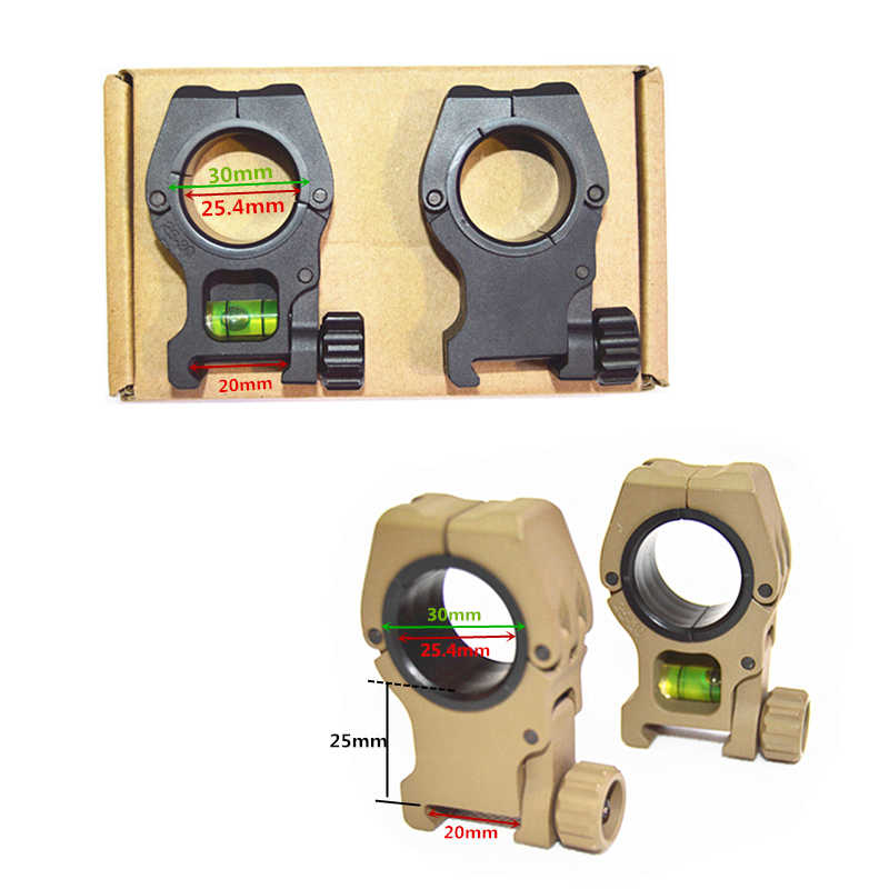 2 pcs of 1 inch/30mm Quick Detachable Flashlight Scope Laser Mount With Spirit Level 20mm Weaverer Rail Dovetail Spirit level