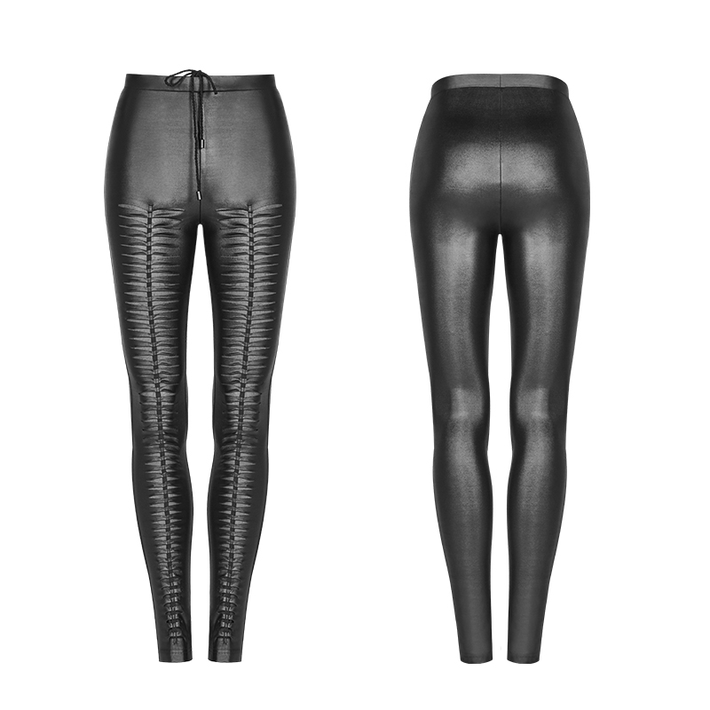PUNK RAVE Steampunk Gothic Women PU Leather Pants Hollow Out Black Sexy Pants Club Party Women Lace up Skinny Trousers - 6