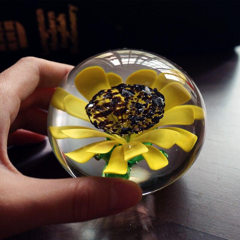 Sunflower glass handicraft art originality crystal ball gift Immortal FLOWER onsale