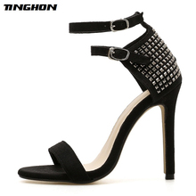 TINGHON New Fashion Sexy Rivet High Heels Women Line Style Buckle Thin High Heels Black Faux Suede Open Toe Dress Sandals 35-40 criss cross faux suede open shoulder dress