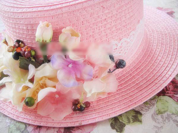 0863a3f4e01ca Sweet lolita hat princess Lolita pink hat lourie vintage forest style lace  bow flat straw hat