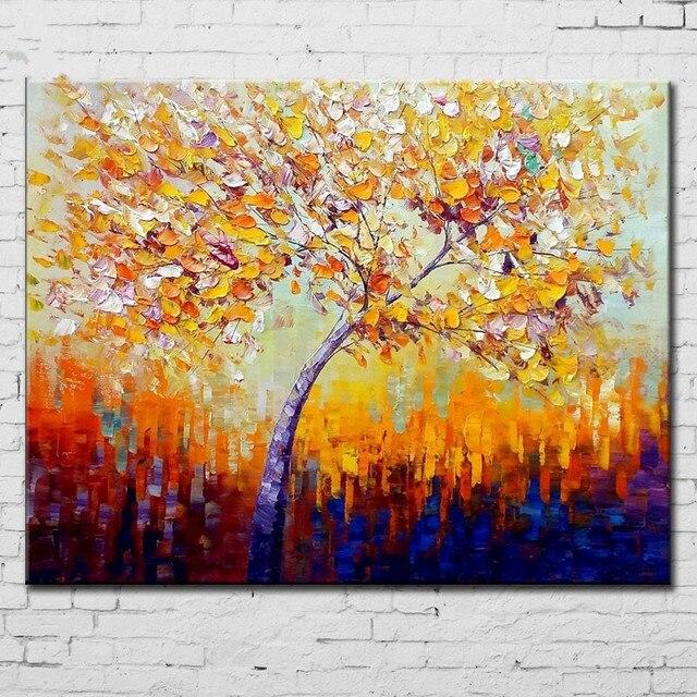 Handgemalte Bilder handgefertigte acryl gemälde bäume spachtel wohnkultur wandkunst