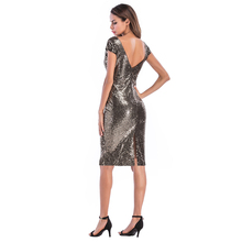 Sexy Club Deep V Back Sequin Summer Woman Dress Sleeveless O-Neck Back Slit Sheath Bodycon Women's Party Dresses vestidos mujer