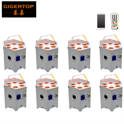 Freeshipping 8 Pack 5in1 Wireless DMX Battery Powered LED Flat PAR Light/IR Remote Stage Lighting Magic Home Mobile APP Control