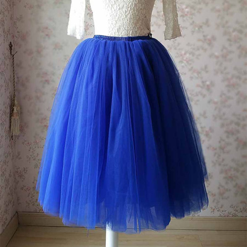 Royal Blue 6 Layers Tulle Skirt Elastic Band Tutu Skirt Womens Summer Style High Waisted Midi ...