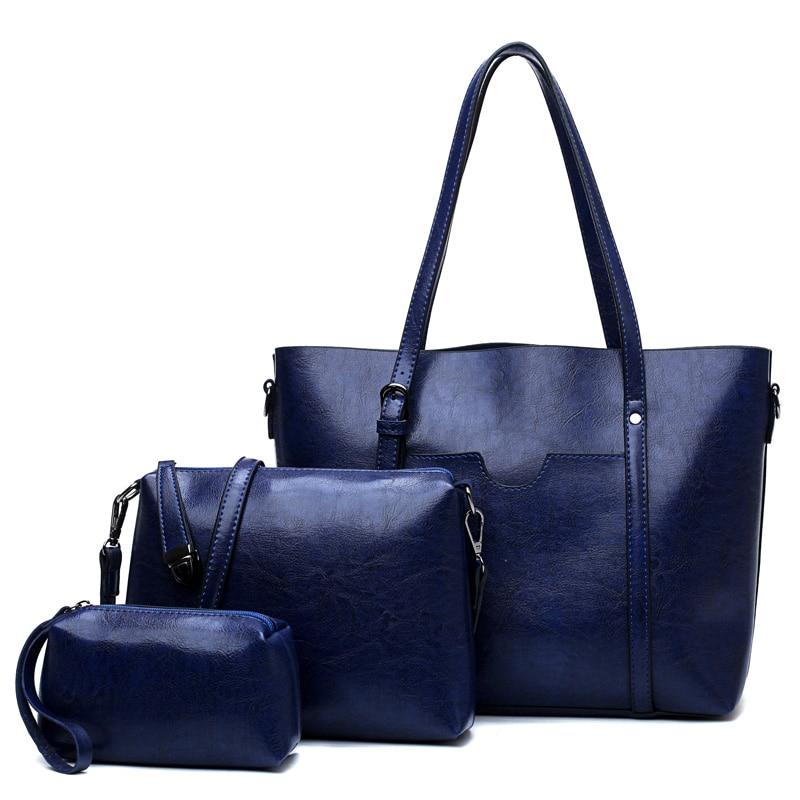 3 Set/Pcs Women Handbags Designer Bags Female Should Bag PU Leather Tote Bag Ladies Small Casual Purse Bag