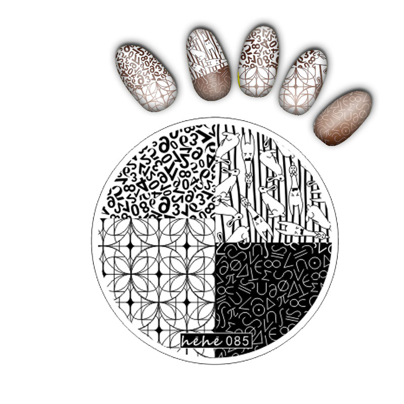 1pc round shape hehe Series Nail Art Image Plate Stamper