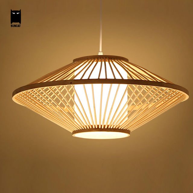 Attractive Bamboo Wicker Rattan Pendant Light Fixture Rustic Japan Tatami  BW28