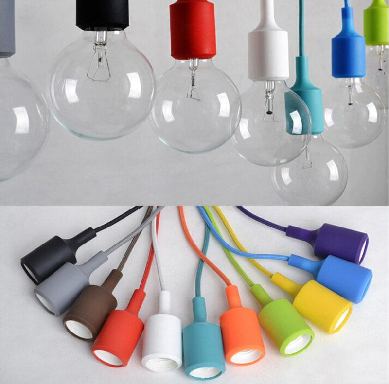 Arrival Colorful LED Pendant Lights 80CM Wire E27 E26 110V 220V Silicone Light Sconce Lamp