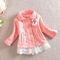 Ponto de roupas Coreano crianças meninas rendas jaqueta de algodão padrão de coelho adorável toldder meninas polka dot casaco de inverno de algodão quente